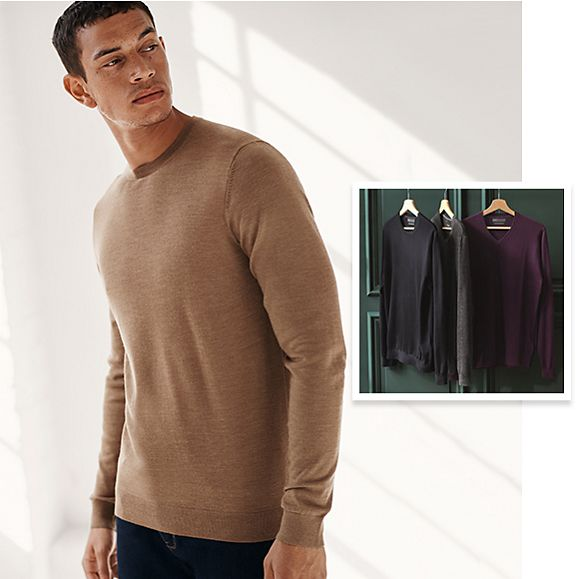 Man wearing beige extra-fine pure merino wool jumper with hanging men's extra-fine pure merino wool sweaters in an inset image