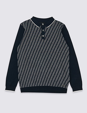 f40d75526 Knitted Polo Jumper (3-16 Years)   M&S