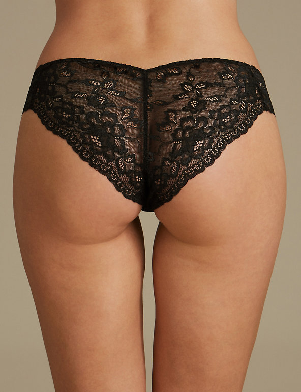 M/&S Size 28 Caged Lace Collection Stretch Lace Brazilian Knickers Pink Blk