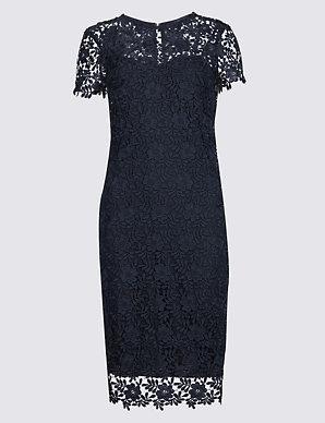 6a0cc943eb Lace Sheath Short Sleeve Bodycon Midi Dress