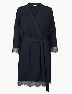 63af74fc7187f Lace Trim Short Dressing Gown | M&S Collection | M&S