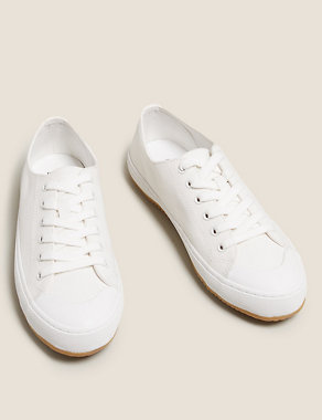 Lace Up Canvas Trainers Image 2 of 5