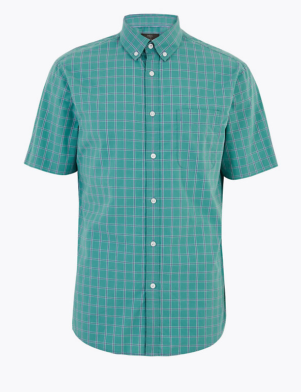 M/&S COLLECTION  Pure Cotton Check Embroidered Shirt ~ Size 12