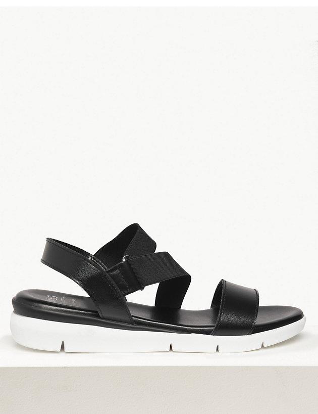 Leather Asymmetric Elastic Sandals