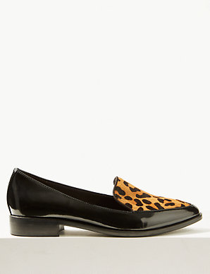 fbab70042a8b Leather Block Heel Loafers | M&S Collection | M&S