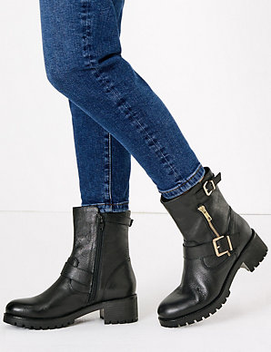 sneakers good texture the sale of shoes Leather Buckle Biker Boots