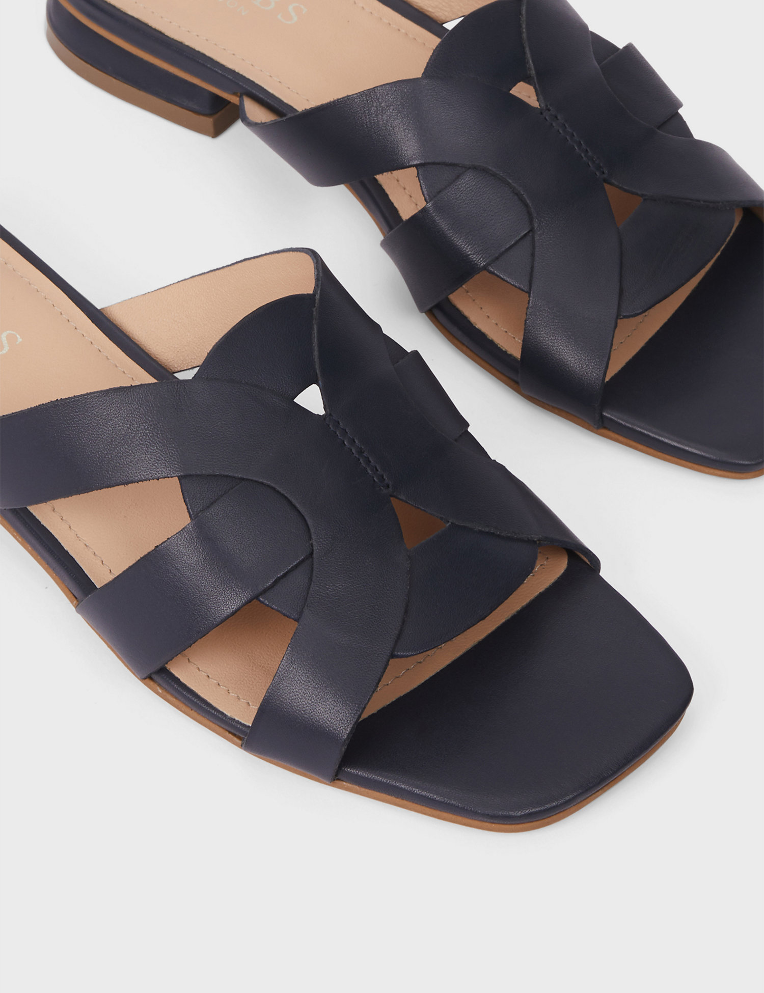 Leather Flat Sliders in black HOBBS at m&s