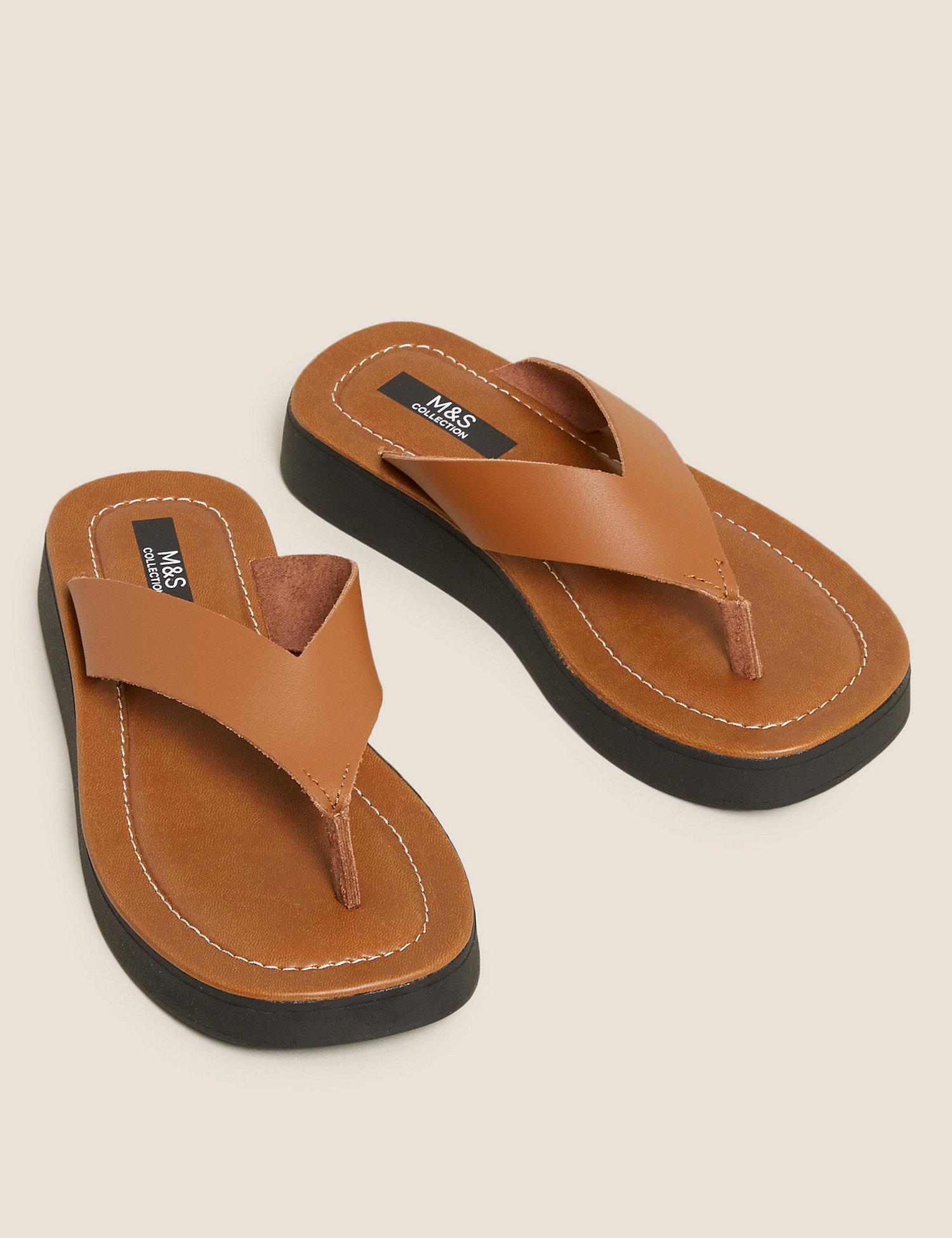Leather Flatform Flip Flops m&s