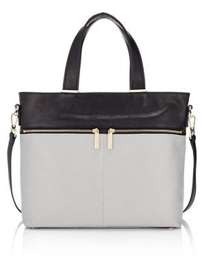 54c4c814b Leather Front Zip Shopper Bag | Autograph | M&S