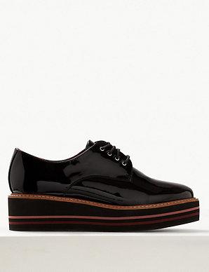 88f0d550c Leather Patent Flatform Shoes | M&S Collection | M&S