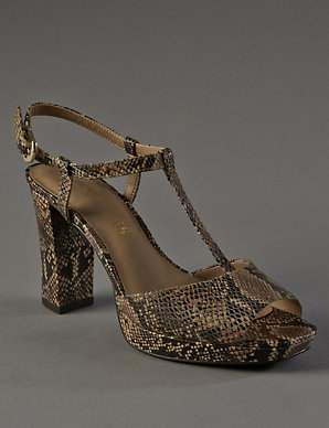 9be5082a6 Leather Platform Faux Snakeskin Print T-Bar Sandals with Insolia ...