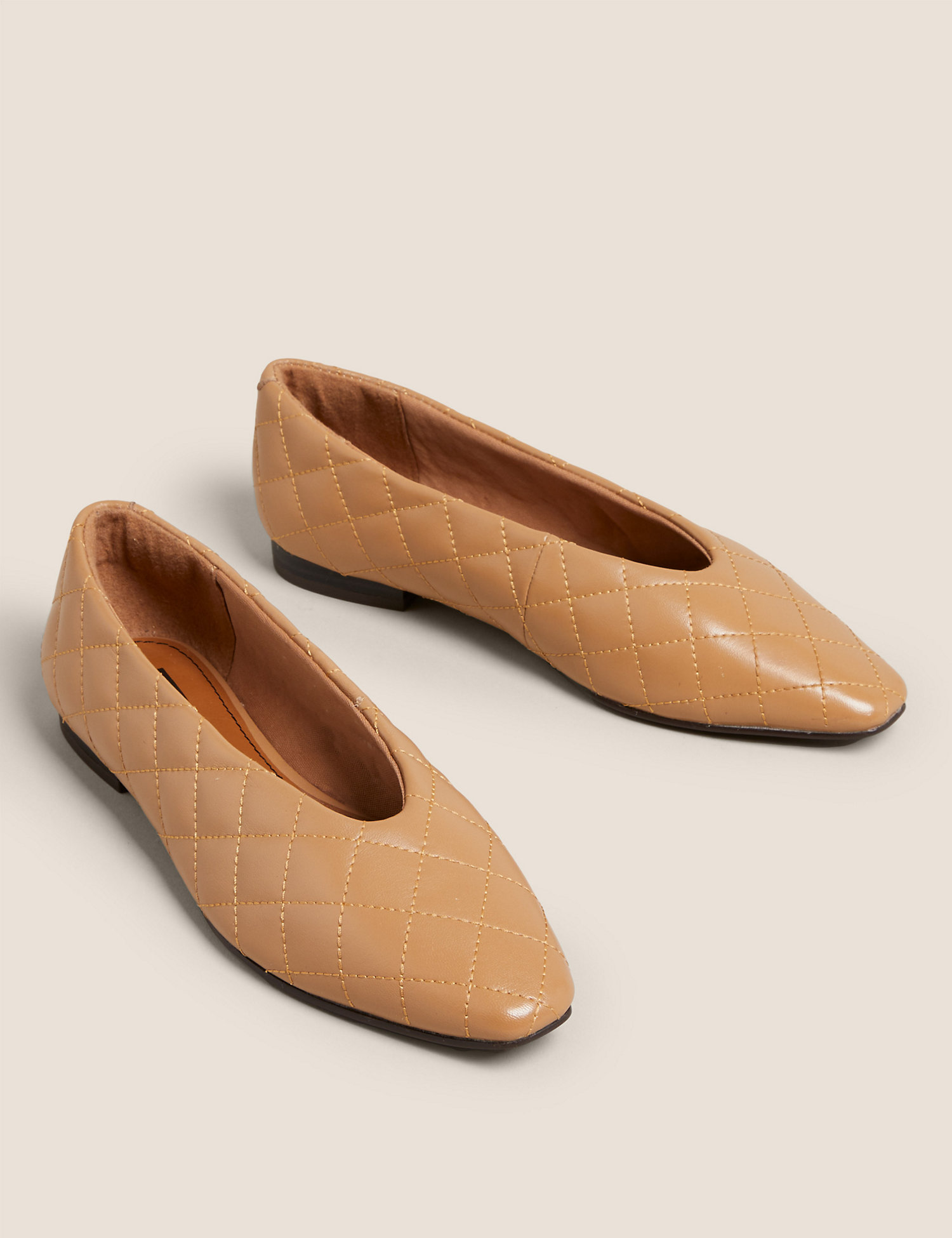 Leather Quilted Chisel Toe Ballet Pumps m&s