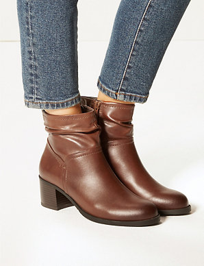 84359d0ff8a9 Leather Ruched Jeans Boots | M&S Collection | M&S
