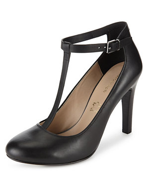 Leather T Bar Stiletto High Heel Court Shoes with Insolia®