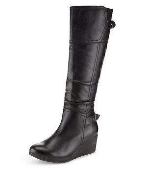 64fb285e008 Leather Wedge Heel Knee Boots with Stretch Zip