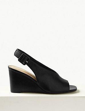 Heel Slingback Sandals Wedge Leather KJcT1F3l