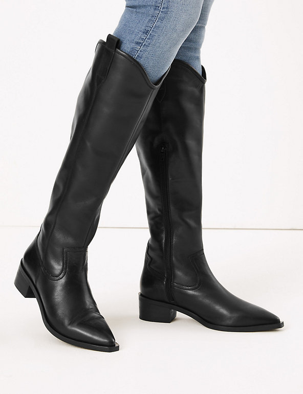 9ec52c332c3 Leather Western Knee High Boots   M&S Collection   M&S