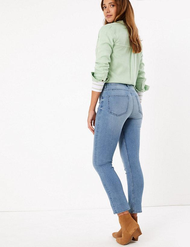 M/&S INDIGO Embroidered MID Rise SKINNY LEG JEANS ~ Size 16 Short ~ BLACK