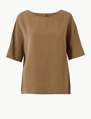 3b53e745 Linen Blend Boxy T-Shirt | Per Una | M&S