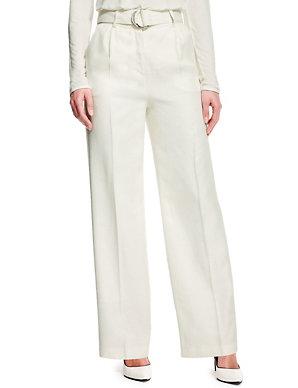 ed16ca1f2567 Linen Blend High Waisted Wide Leg Trousers | Autograph | M&S