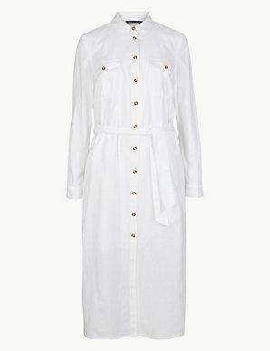 a6f4c366f7d7f8 Linen Blend Patch Pocket Midi Shirt Dress | M&S Collection | M&S