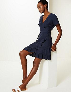 8bb3180b9b Linen Blend Wrap Dress   M&S Collection   M&S
