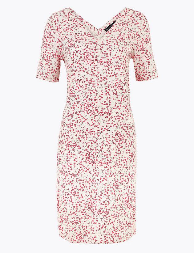 Printed V-Neck Linen Mix Shift Dress
