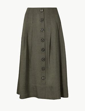 f182a4d875 Linen Rich Fit   Flare Midi Skirt