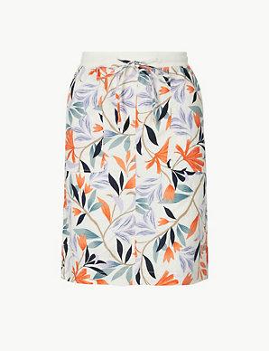 2f88da1535 Linen Rich Leaf Print A-Line Mini Skirt   M&S Collection   M&S