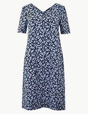 c2316e545 Linen Rich Leaf Print Shift Dress | M&S Collection | M&S