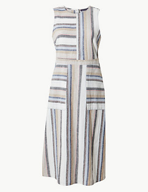 1452adbcaf92 Linen Rich Striped Fit & Flare Midi Dress   M&S Collection   M&S
