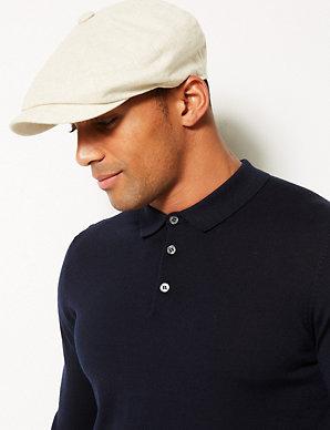 bf39eabff Linen Rich Textured Baker Boy Hat | M&S Collection | M&S