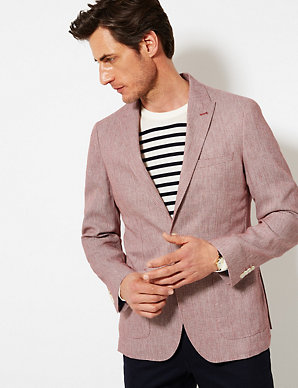 6eea0175a2535 Linen Rich Textured Tailored Fit Jacket | M&S Collection Luxury | M&S