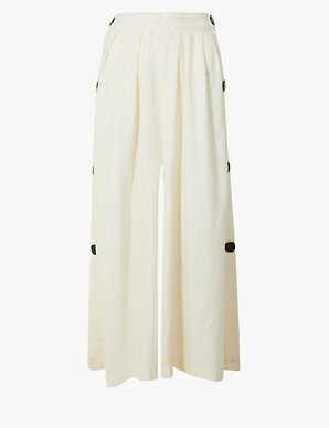 041bd04448a Linen Rich Wide Leg Cropped Trousers