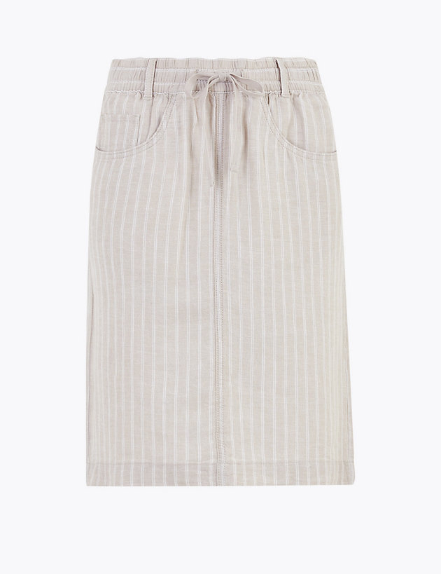 Linen Striped Mini A-Line Skirt