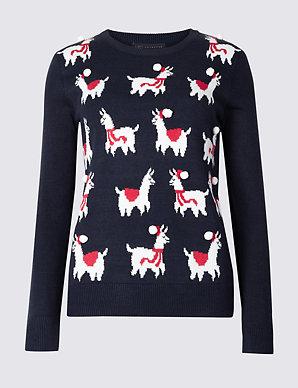 Next Christmas Jumpers.Llamas Round Neck Christmas Jumper