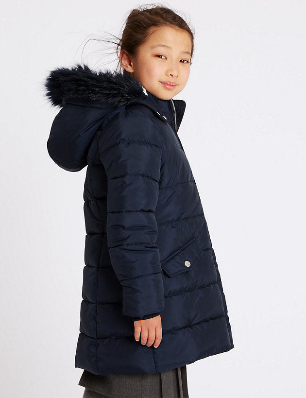 Girls Marks /& Spencer £36 Long Padded Coat with Stormwear™ BACK TO SCHOOL Jacket