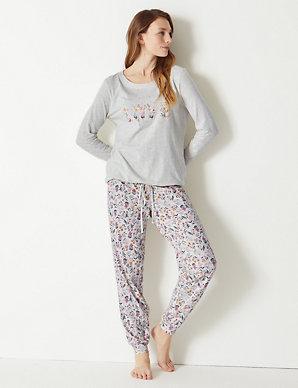 a173a82f7 Love Slogan Cuffed Hem Pyjama Set