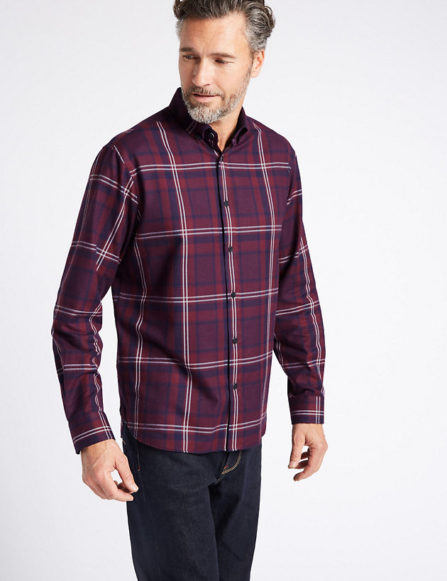 Marks /& Spencer Mens Blue Harbour Luxury Brushed Cotton Lyocell Checked Shirt