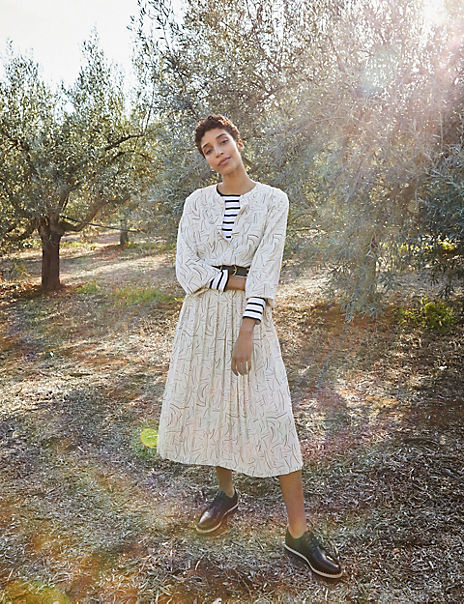 Printed Pleated Relaxed Midi Dress