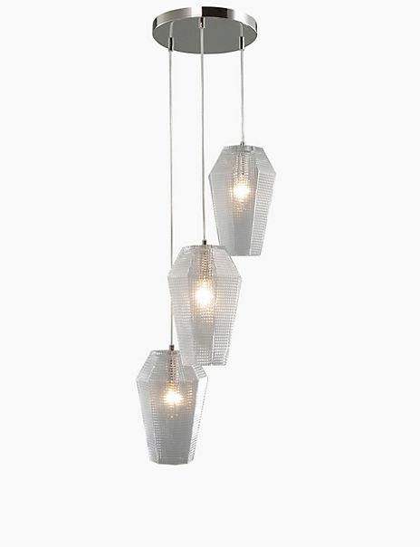Patterned 3 Light Glass Cluster