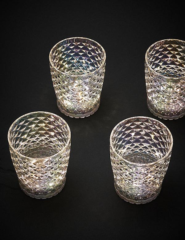 Lot de 4 verres droits lumineux