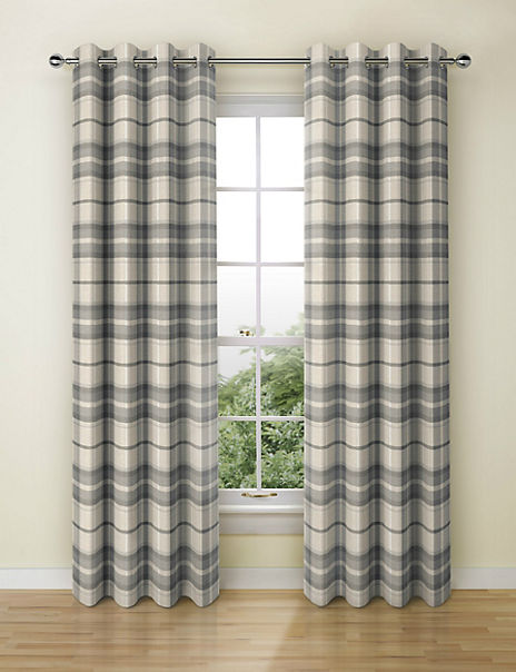 Checked Eyelet Curtains