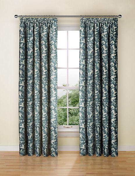 Floral Jacquard Pencil Pleat Curtains