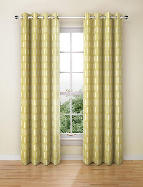 Geometric Print Eyelet Curtains