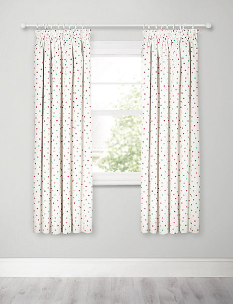 Kids Spotted Print Pencil Pleat Blackout Curtains