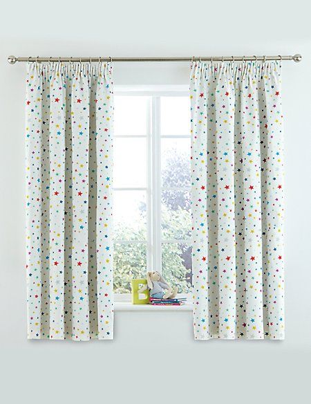 Star Print Pencil Pleat Curtains