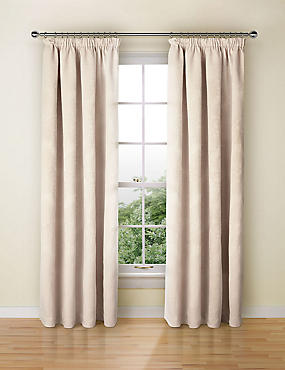 Chenille Damask Pencil Pleat Curtains