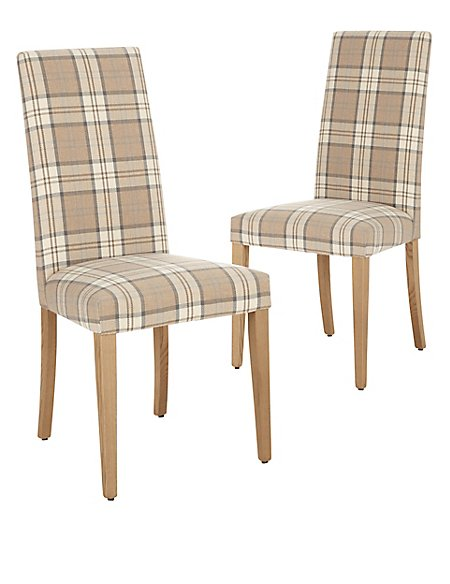 Set of 2 Denford Checked Dining Chair