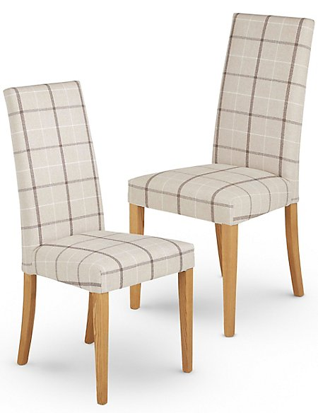 Set of 2 Denford Checked Oatmeal Dining Chair